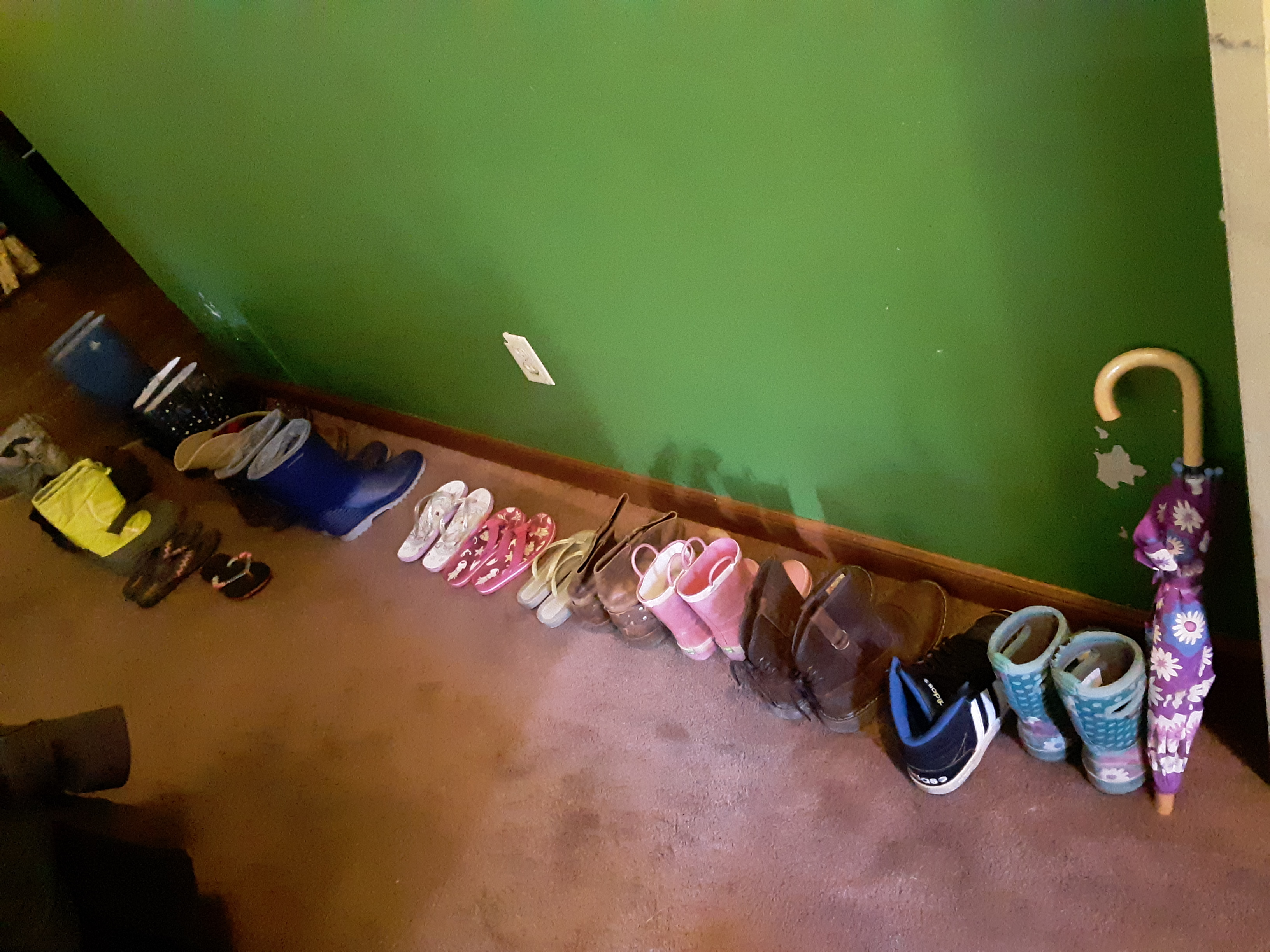 Quite the collection of boots and flip flops!