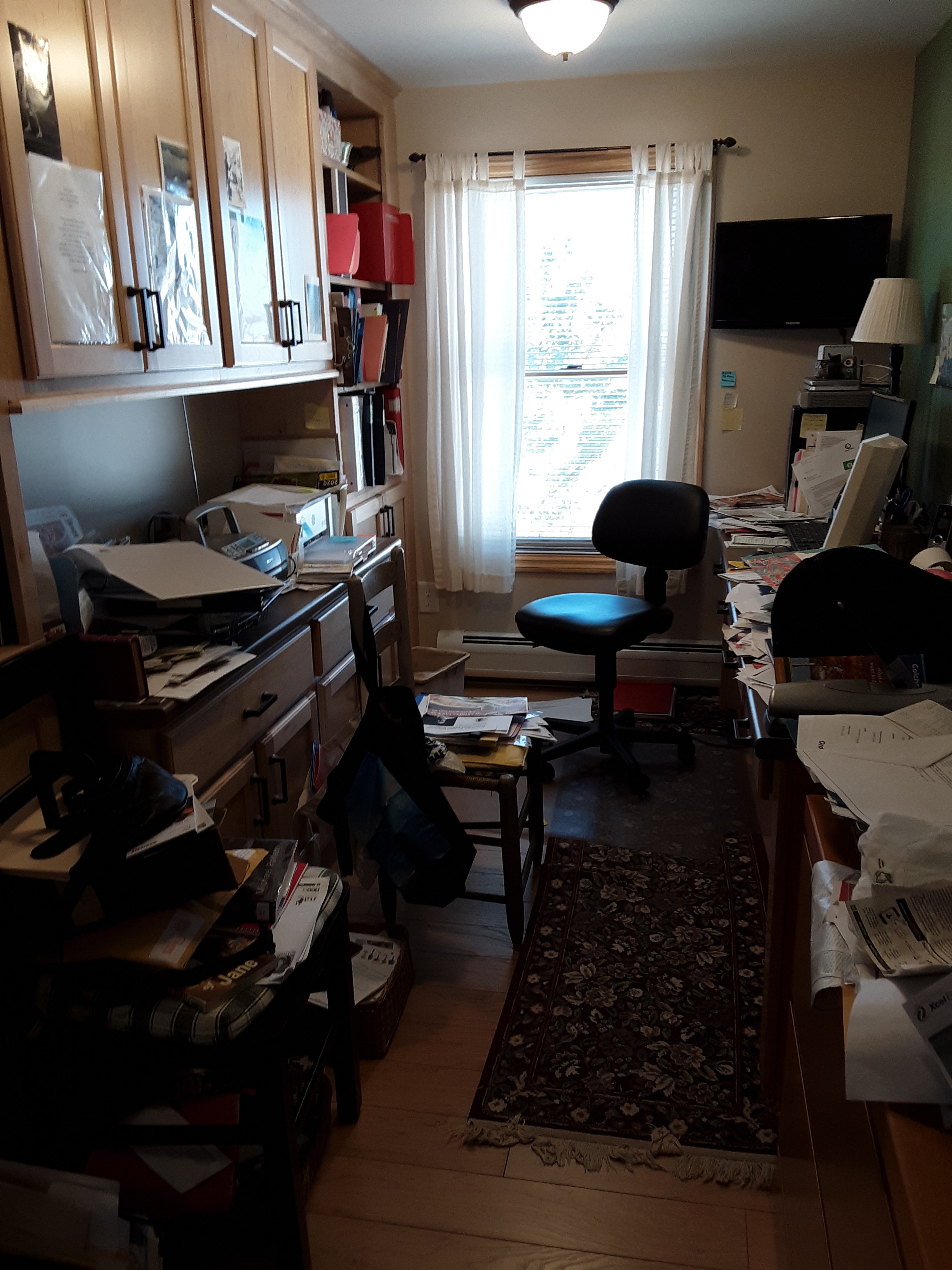 Office view with clutter