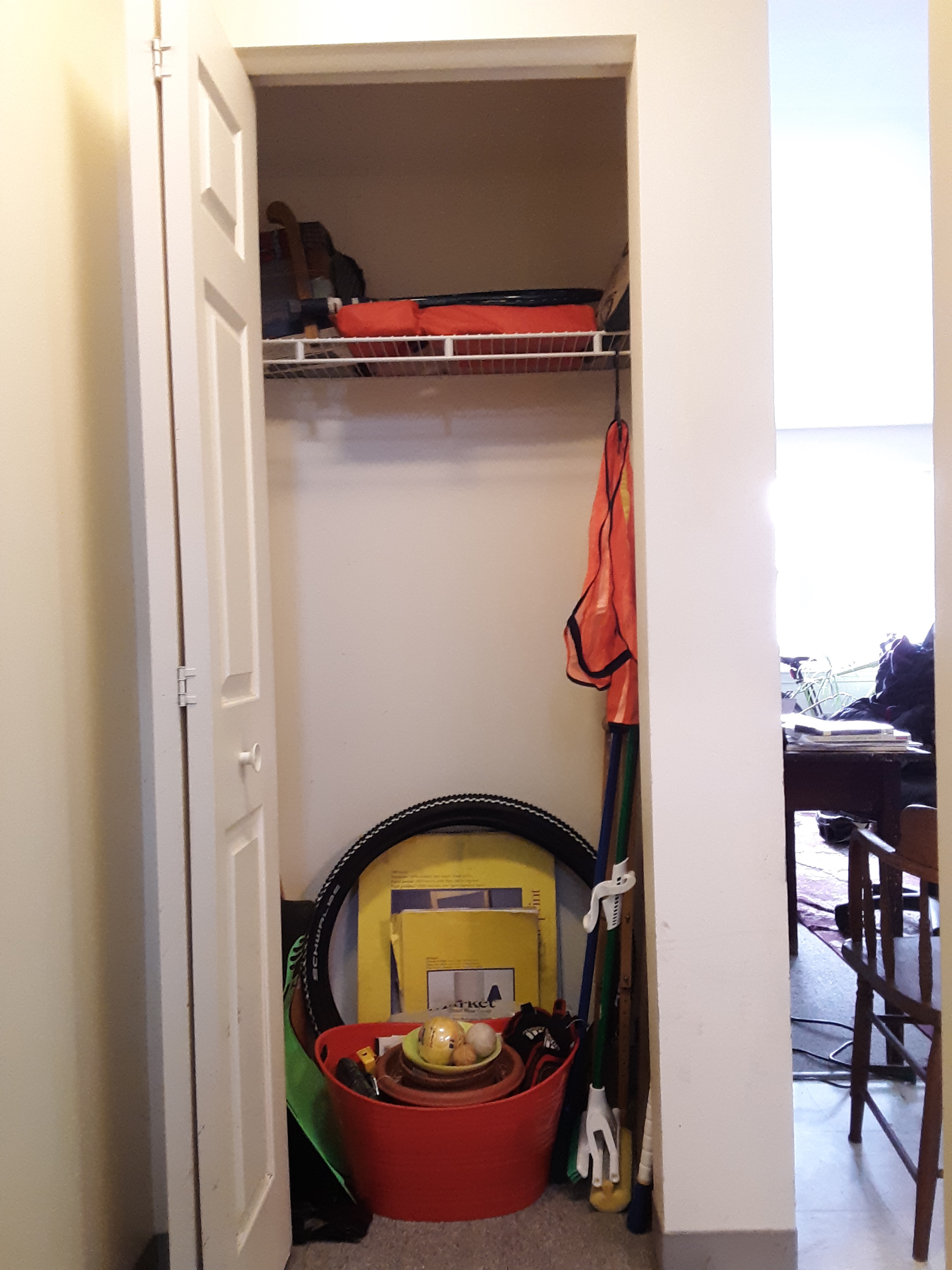 A closet, cleared of clutter and reorganized