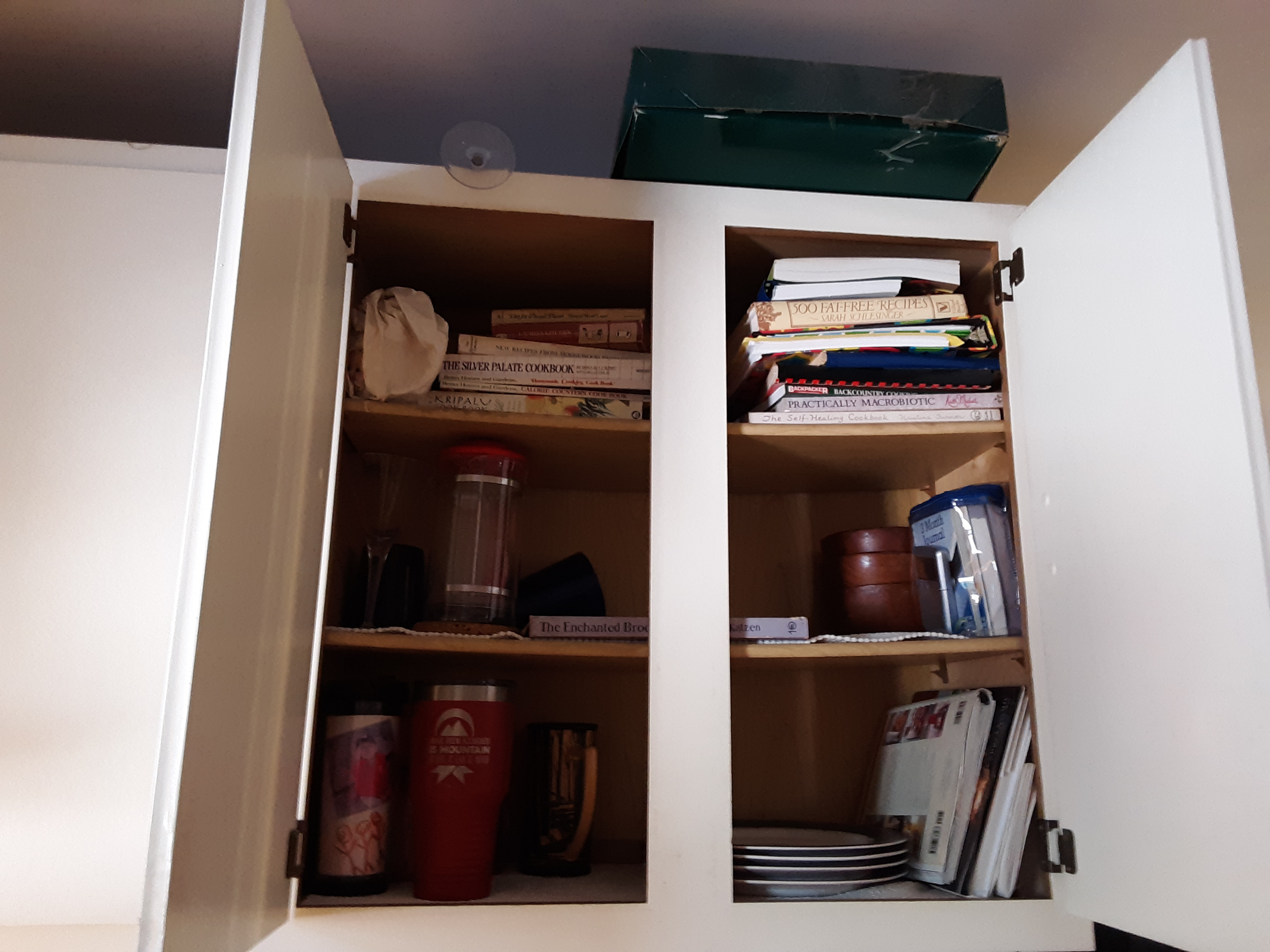 A surprising storage spot for cookbooks!