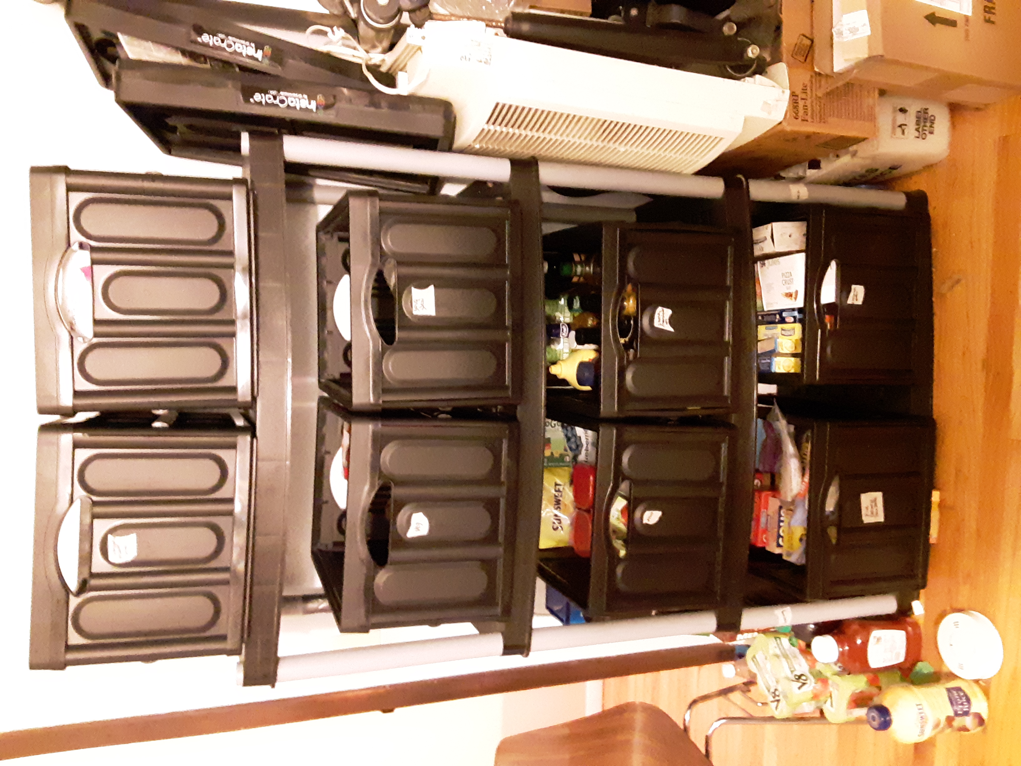 The organized bins, now easier to pull out.