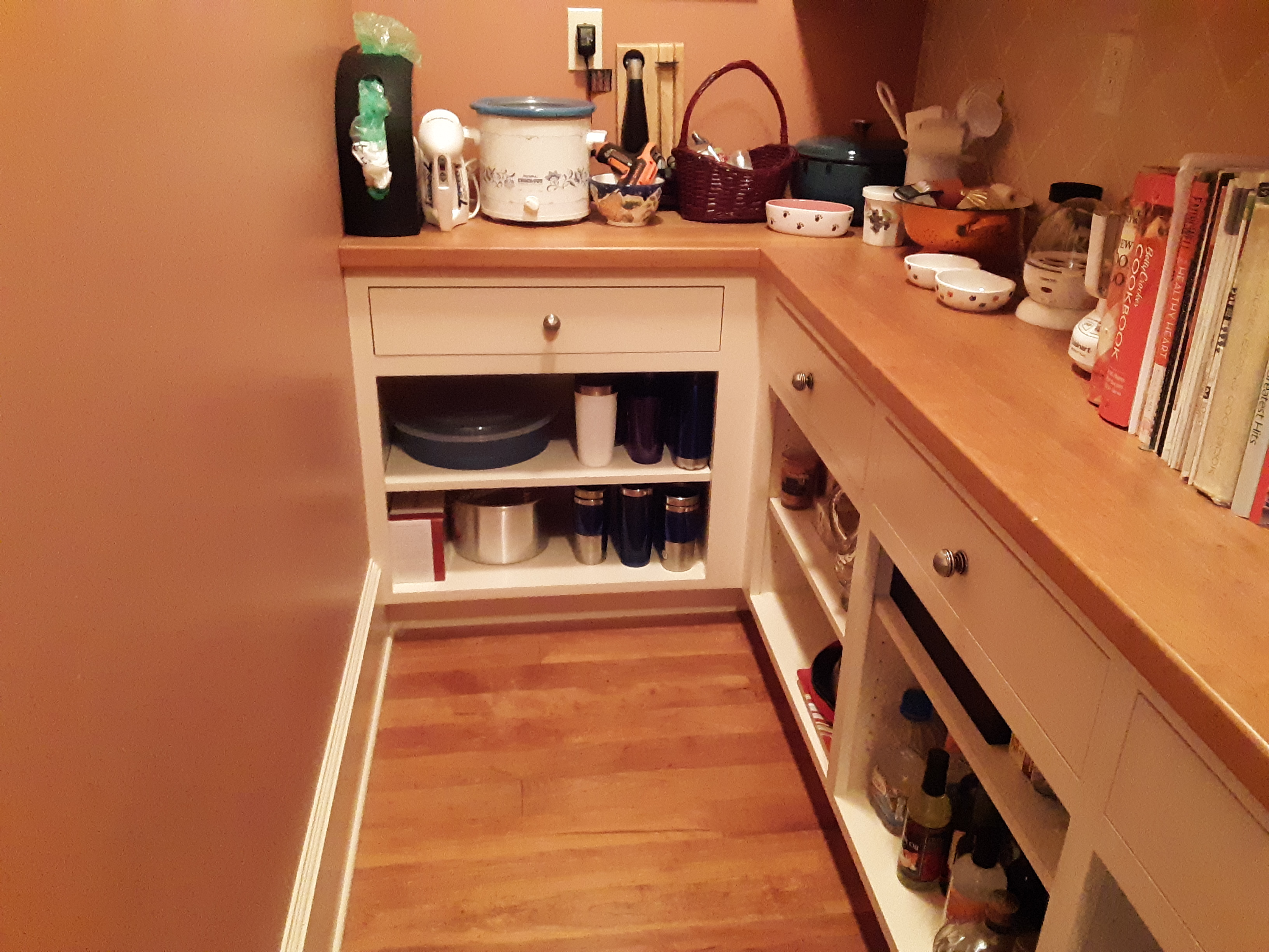 Clutter-free pantry floor and counter