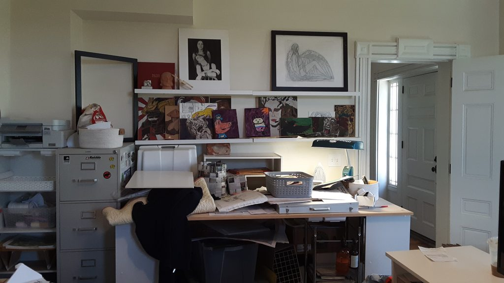 The sewing table in Jessica's office, as she saw it from her desk