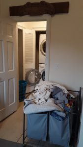 Laundry bins overflowing with dirty clothes