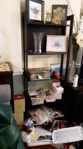 Decorative shelves before we cleared their clutter