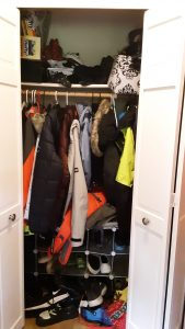 Closet clutter before we cleared it