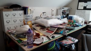 The worktable before we cleared its clutter