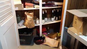 Medical clutter and bottles of wine!