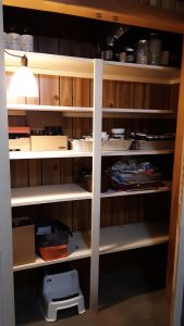 Cleared clutter on the shelves!